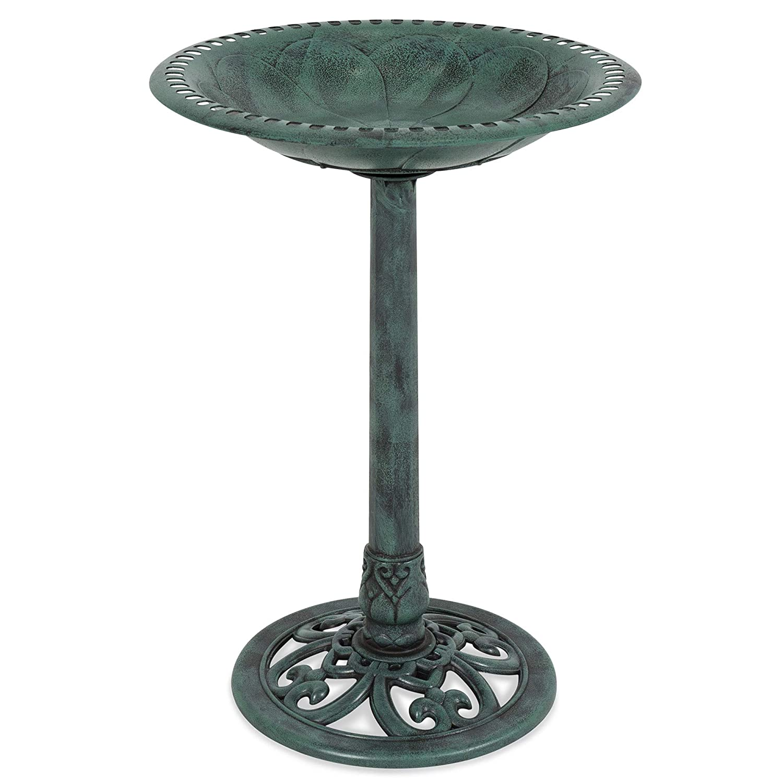 Best Choice Products Outdoor Vintage Resin Pedestal Bird Bath Accent Decoration for Garden, Yard w/Fleur-de-LYS Accents - Green