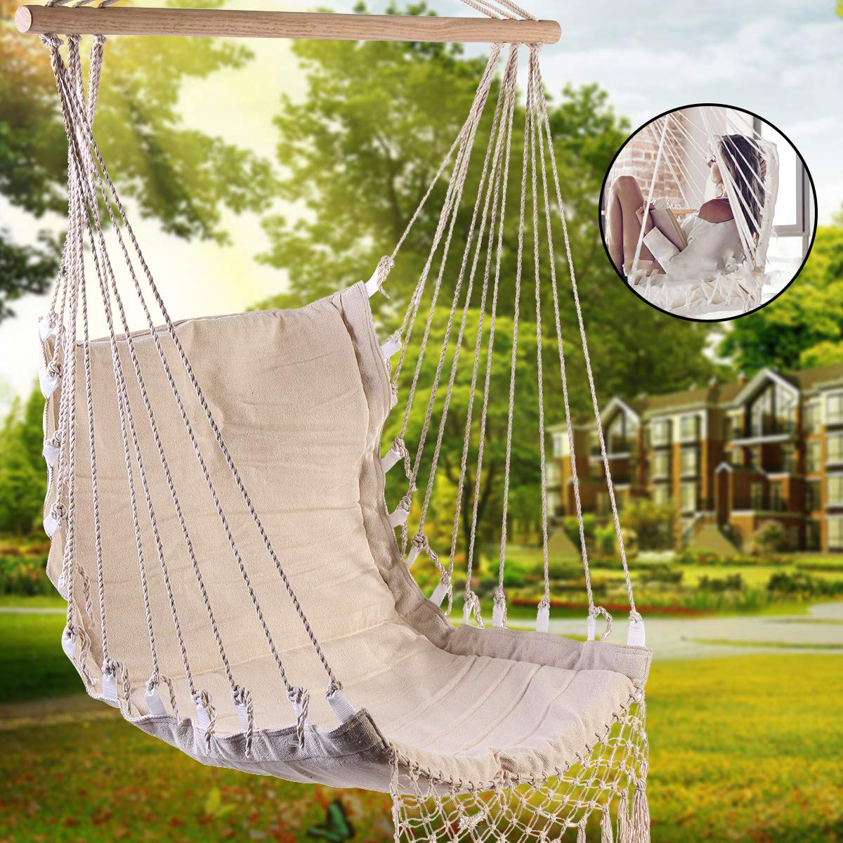 Amazon.com : Romantic Fringed Macrame Swing Chair Hanging Rope Chair ...