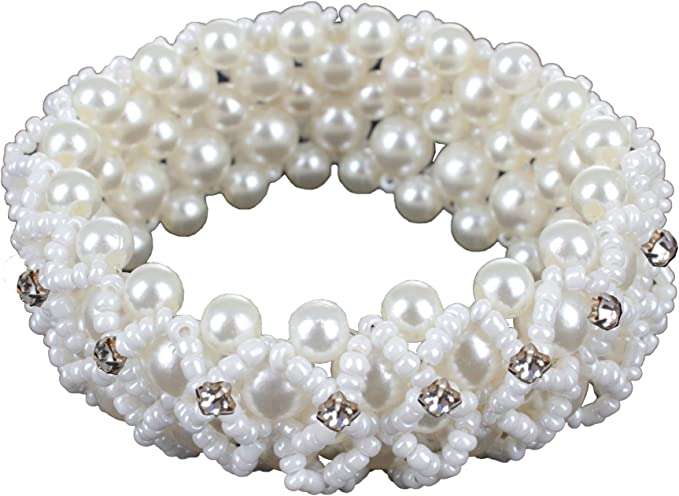Horka Satin Ladies Horse Riding Competition Accessory Hair Elastic Pearl Bobble