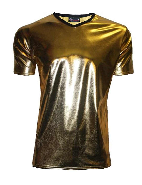 Amazon.com: Insanity Mens Metallic Wet Look Shiny PVC T-Shirt ...
