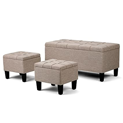 EFD Storage Ottoman Decorative Set Of 3 Box Bench Convenient Beige Fabric  Padded Seat Tufted Lift