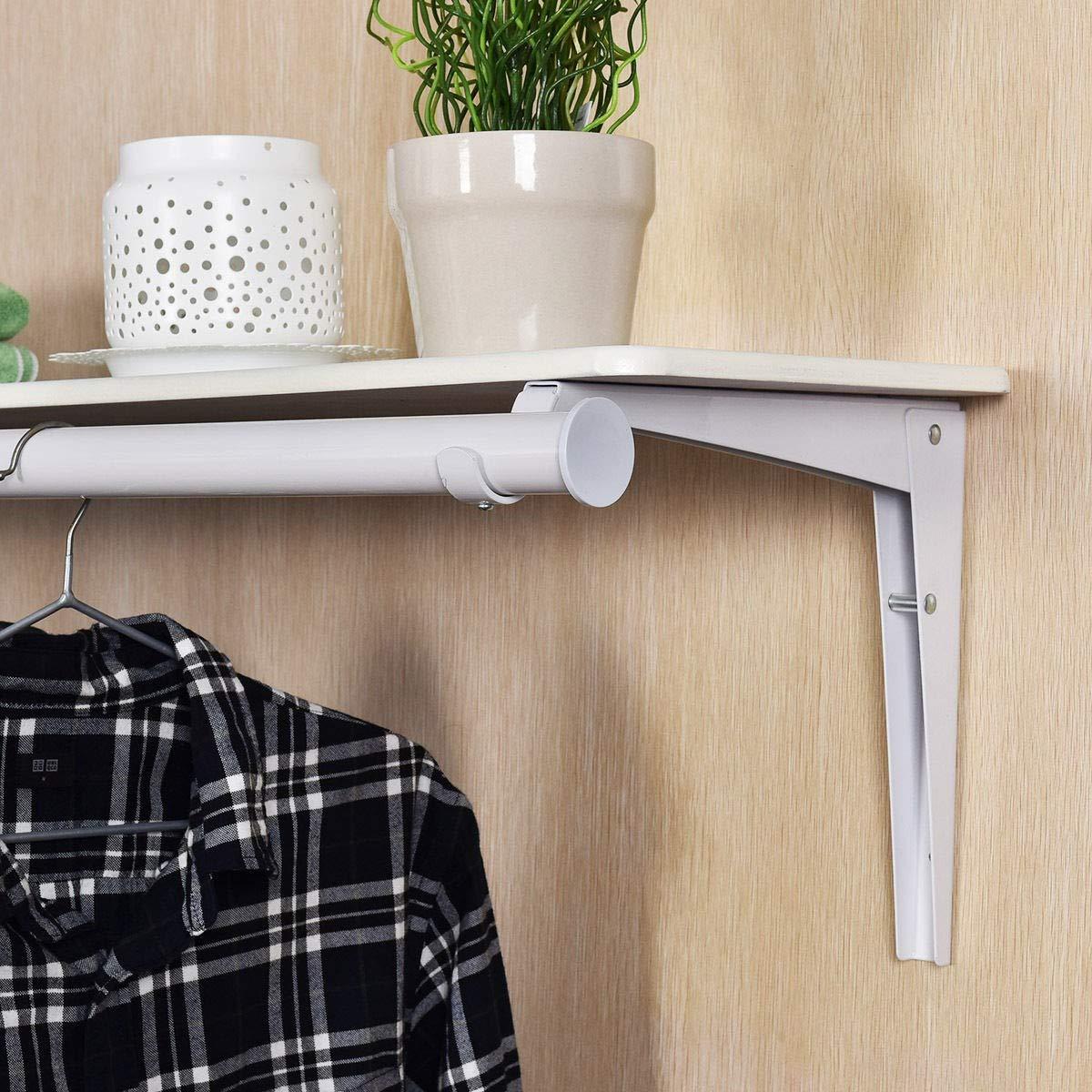 Wall Mount Folding Storage Shelf Utility Rack Holder Home Organizer Hanger