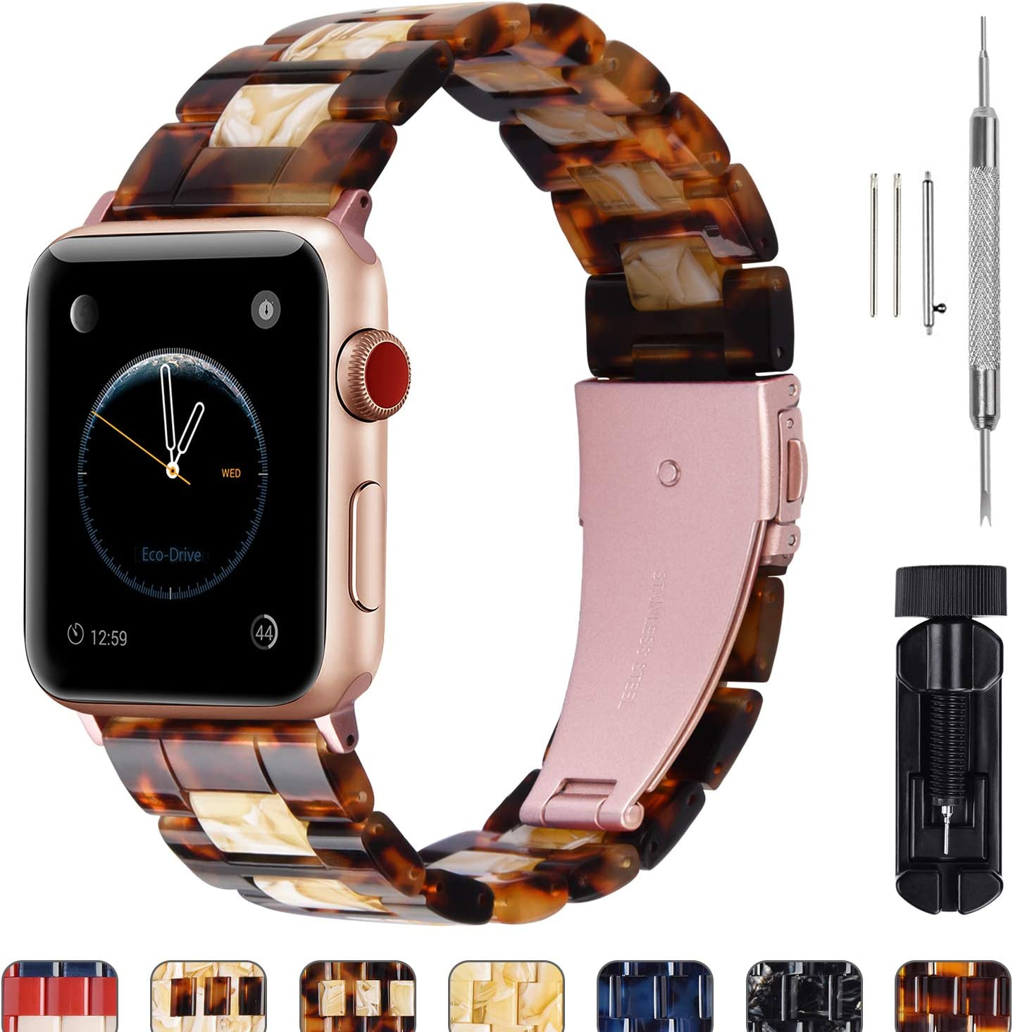 Fullmosa Compatible Apple Watch 42mm/44mm/40mm/38mm, Bright Resin Apple Watch Band for iWatch SE & Series 6/5/4/3/2/1, Dark Amber+Banana Milk(Rose red Hardware) 42mm