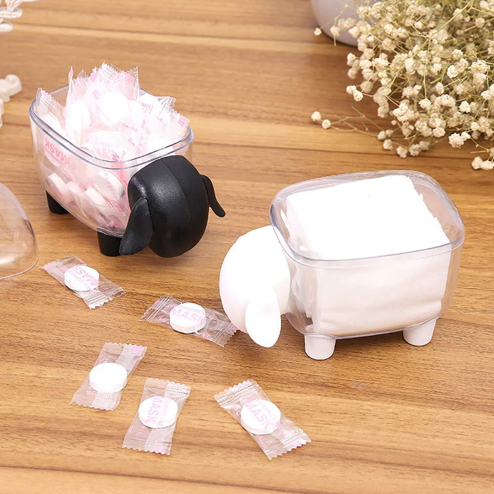 Noir Wudi 1pc Plastique Coton Porte-Salle de Bains Bo/îte de Rangement Moutons en Coton en Forme de bourgeons Dispenzer avec Couvercle Porte Cure-Dents