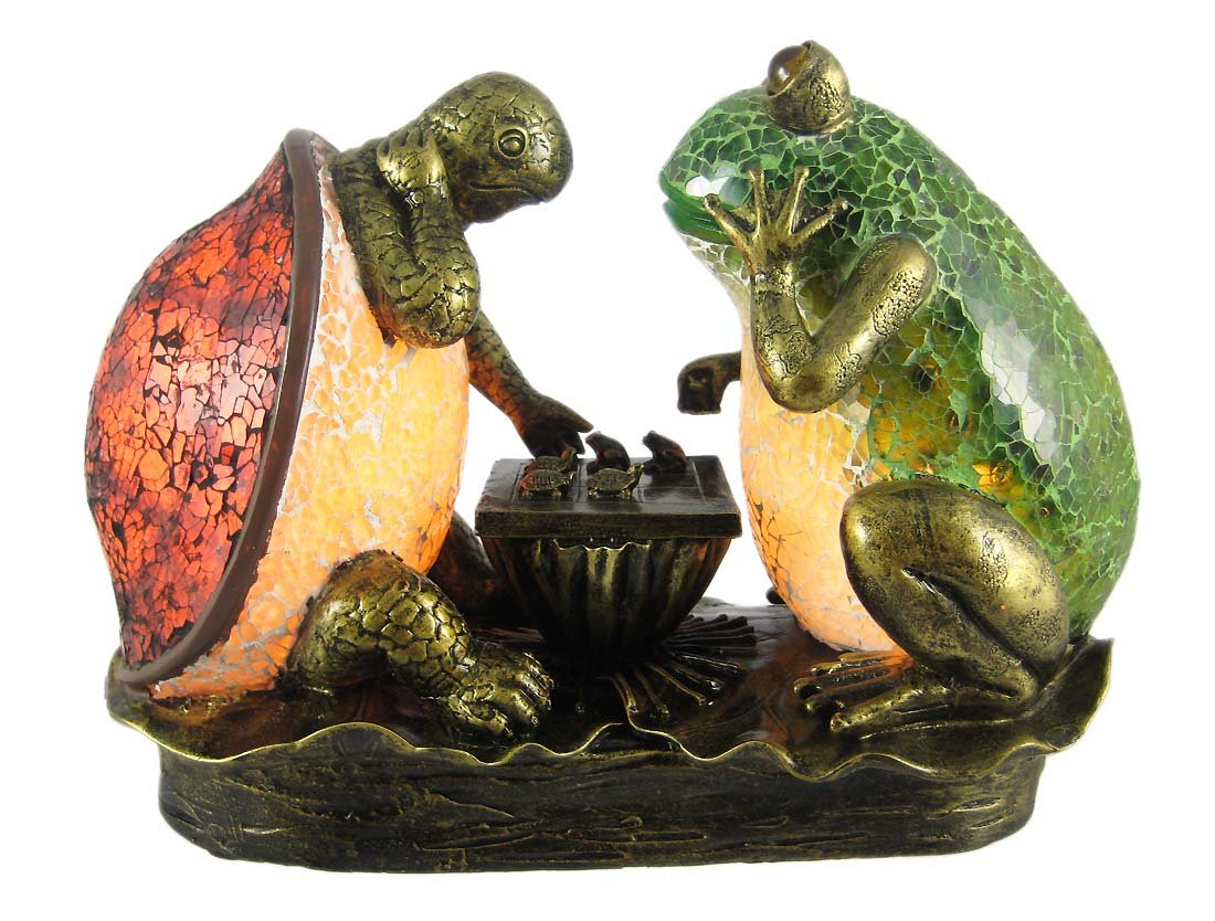 Frog / Turtle Tic Tac Toe Stained Glass Accent Lamp   Indoor Figurine Lamps    Amazon.com