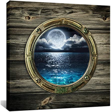 Amazon Com Biuteawal Window Frame Style Beautiful Views Of The Seascape Picture Wall Art Moon Sea Ocean Landscape Paintings Canvas Art Print For Living Room Bathroom Home Decoration Posters Prints