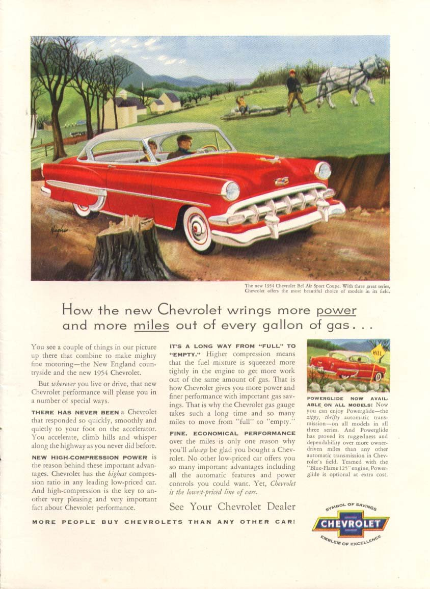 Chevrolet Bel Air Wrings More Power Miles Ad 1954 2 Chevy Entertainment Collectibles