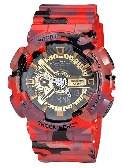 Militar Mens deporte camuflaje cuarzo electrónico LED luz de fondo Alarma reloj para niños rojo: Amazon.es: Relojes