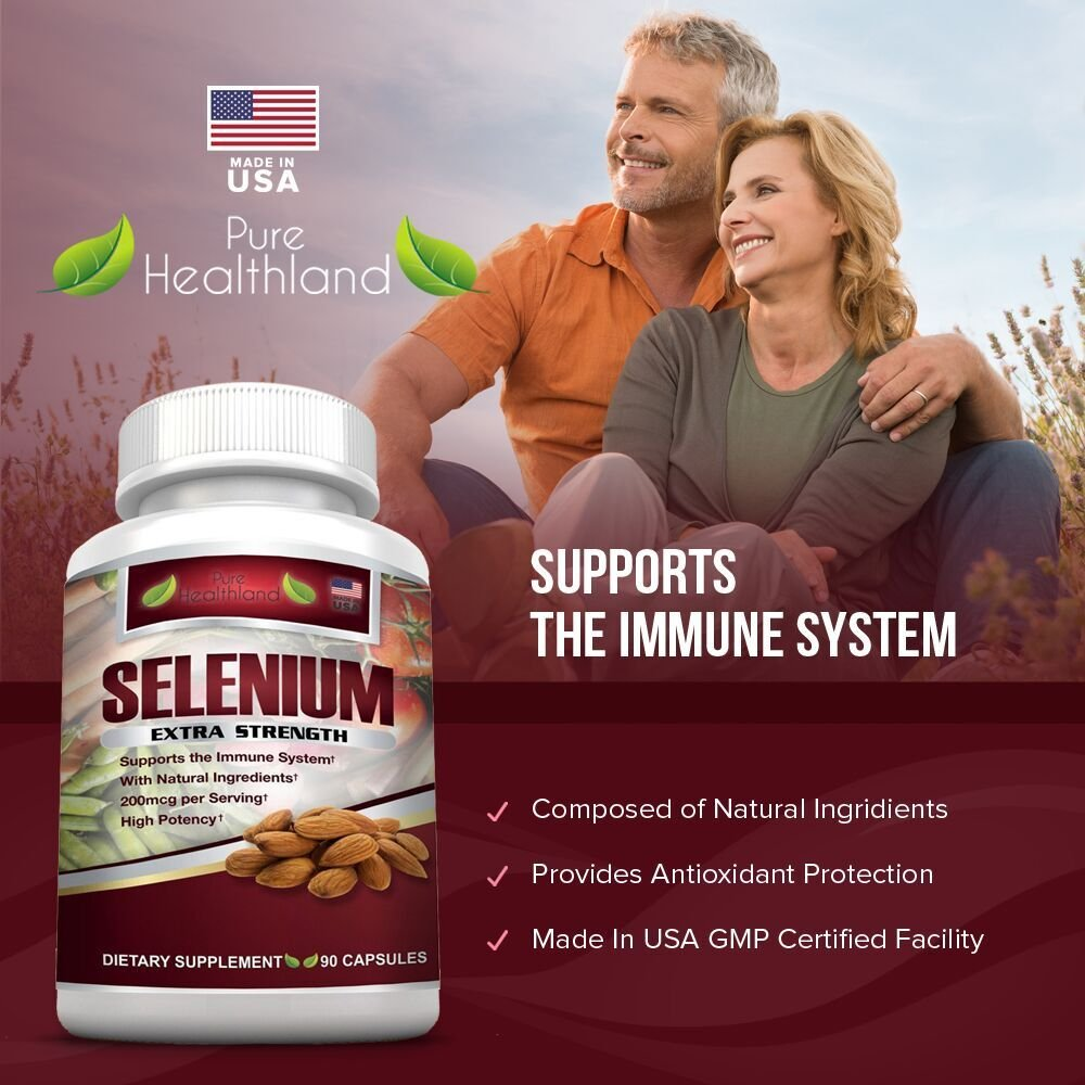 SELENIUM EXTRA STRENGTH Supplement Capsules. Pure Healthland\'s Powerful 200mcg Antioxidant Which Supports Immune System, Heart, Thyroid, & Prostate Health.