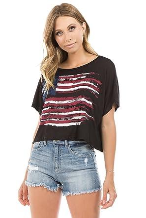 2a88f984 Amazon.com: Onue Collection Women's American Flag Crop T-Shirt Top ...