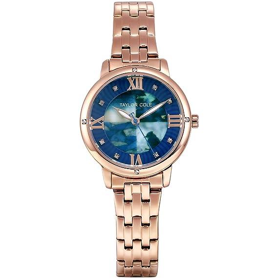 Taylor Cole Reloj Mujer de Moda Analógico Cuarzo Acero Inoxidable Reloj de pulsera TC126: Amazon.es: Relojes