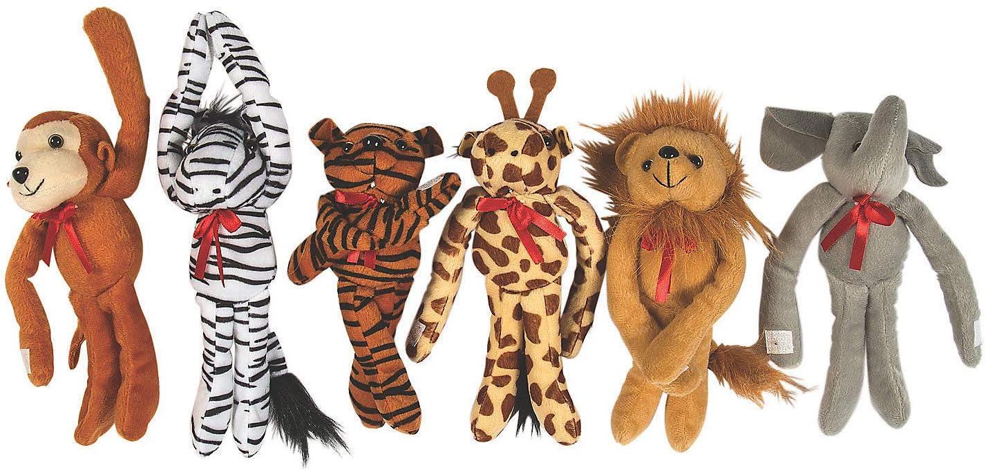 Fun Express Plush Long Arm Zoo Animal Toys (12 Pieces)