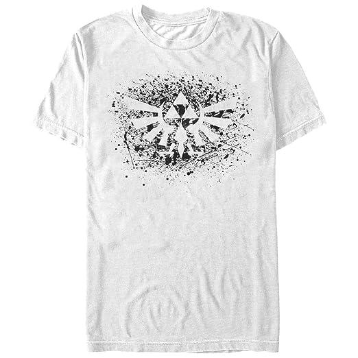 3a00c9c7c Nintendo Men's Legend of Zelda Triforce Paint Splatter Print White T-Shirt