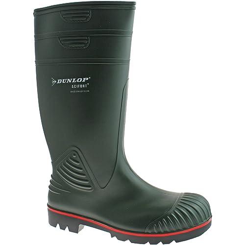 Dunlop actifort para Hombre Botas de Agua PVC Verde Punta de Acero Seguridad w138e tamaño UK