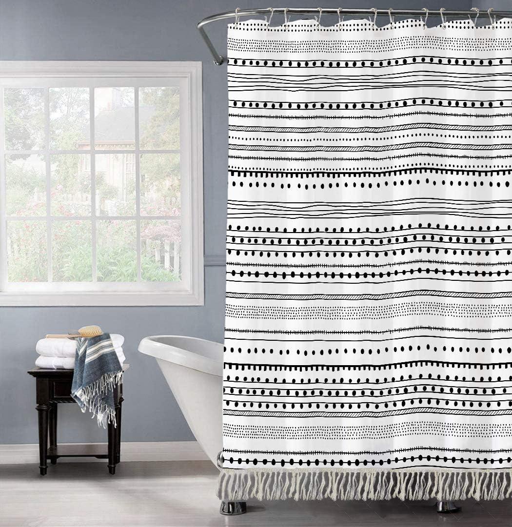 GALMAXS7 Boho Shower CurtainBlack White Modern Fabric Shower Curtains for Bathroom Chic Tribal Geometric Striped Decor Polyester Bath Curtain Set with Hooks Heavy Duty Waterproof 72''x78'',Tassel