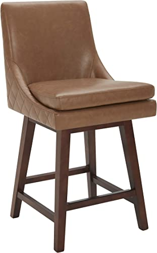 CHITA Counter Height Swivel Barstool, Upholstered Leather Bar Stool, 26 H Seat Height, Brown