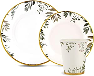 150 Pieces Disposable Paper Plates and Cups Set, Gold Foil Trim with Greenery Design Dinner Dessert Plates, Wedding and Party Supplies Set. Includes 50 Dinner Plates, 50 Dessert Plates, and 50 Cups