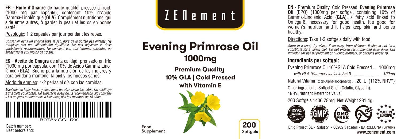 Aceite de Onagra | 1000mg x 200 perlas | Calidad Premium, Prensado en frío, 10% GLA | Para el equilibrio hormonal de las mujeres y la saludo de la ...