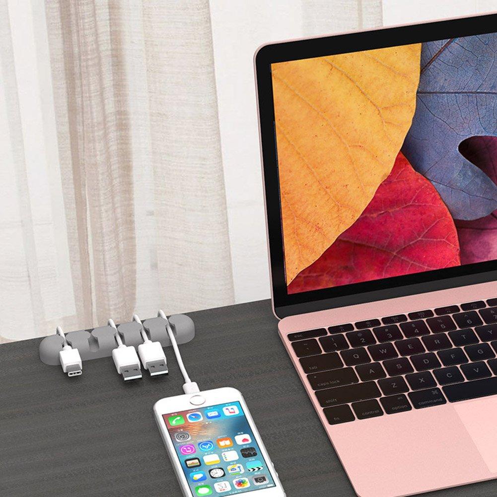 BESNIN Clip per Cavo Desktop 3 pezzi Supporto per Cavo 5 Canali Clip per Cavo Gestione dei Cavi per Cavo USB per Desktop Cavo di ricarica per cuffie