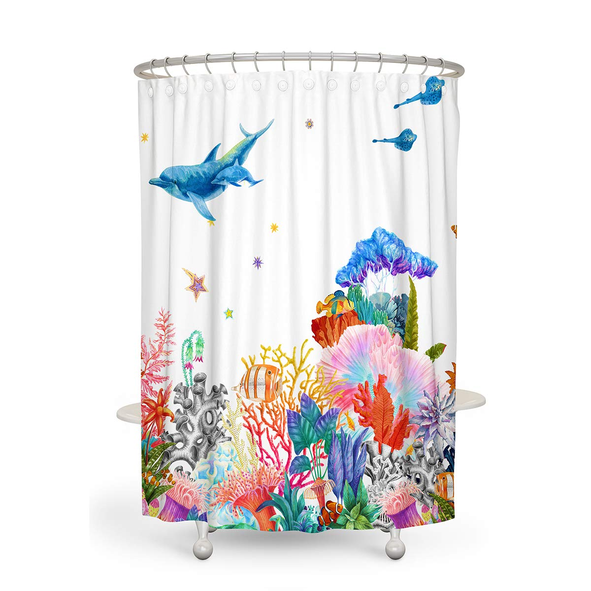 MACOFE Shower Curtain 3D Shower Curtain Ocean Shower Curtain Mildew Resistant Polyester Fabric, Waterproof, Machine Washable,Hooks Included,Bathroom Decor Original Design Hand Drawing,71x71in