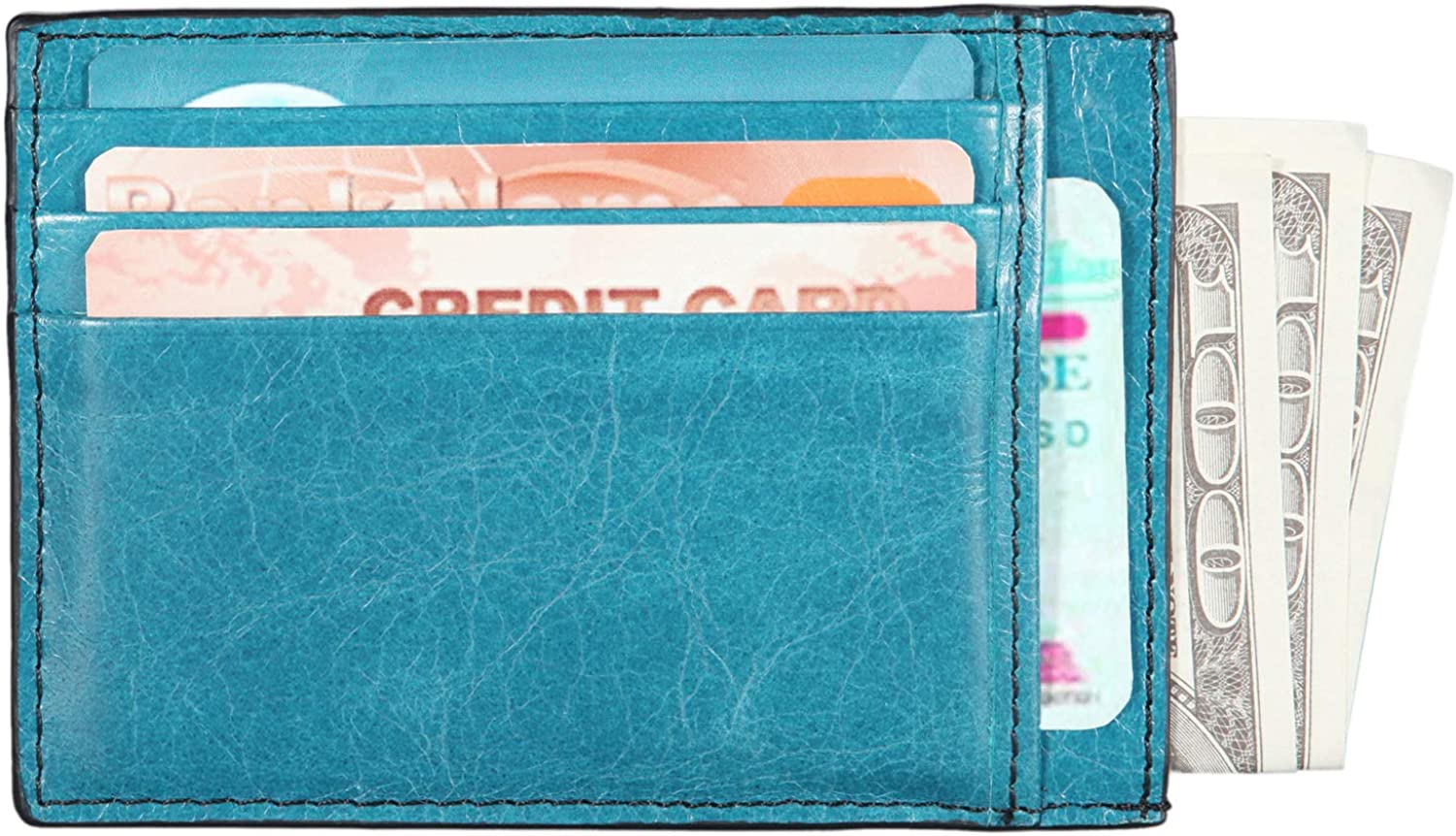 Banuce Business Card Holder Case Real Leather Slim Credit Card Wallet