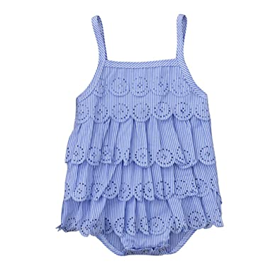 79b76acb6f79 Amazon.com  Lurryly Baby Girls Sleeveless Lace Pierced Sun-Top Romper  Jumpsuit Clothes 0-24 M  Clothing