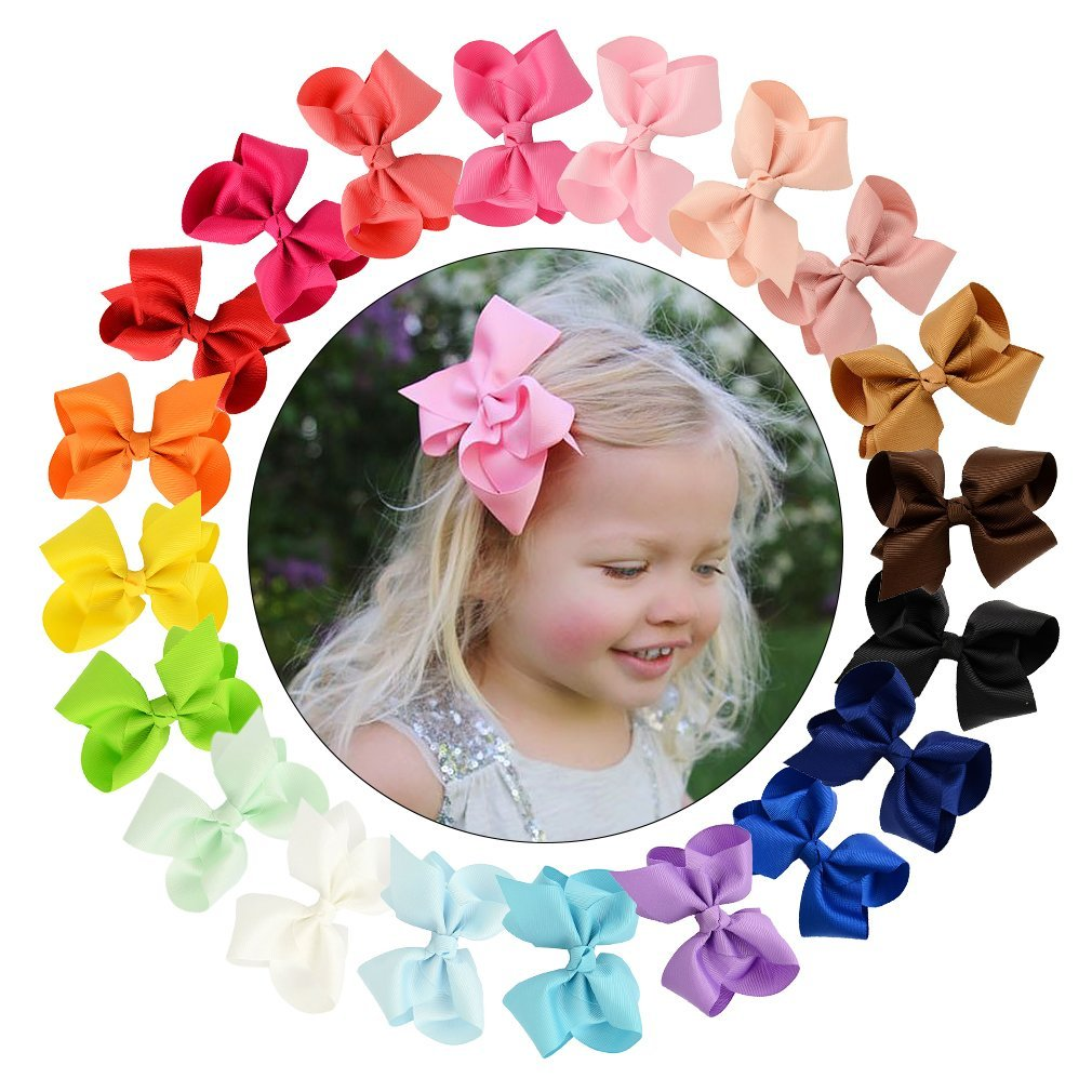 CHLONG 20pcs 4 Inches Pure Color Grosgrain Ribbon Hair Bow Clips Set for Girls Toddlers Kids Teens (4inch-20pcs)
