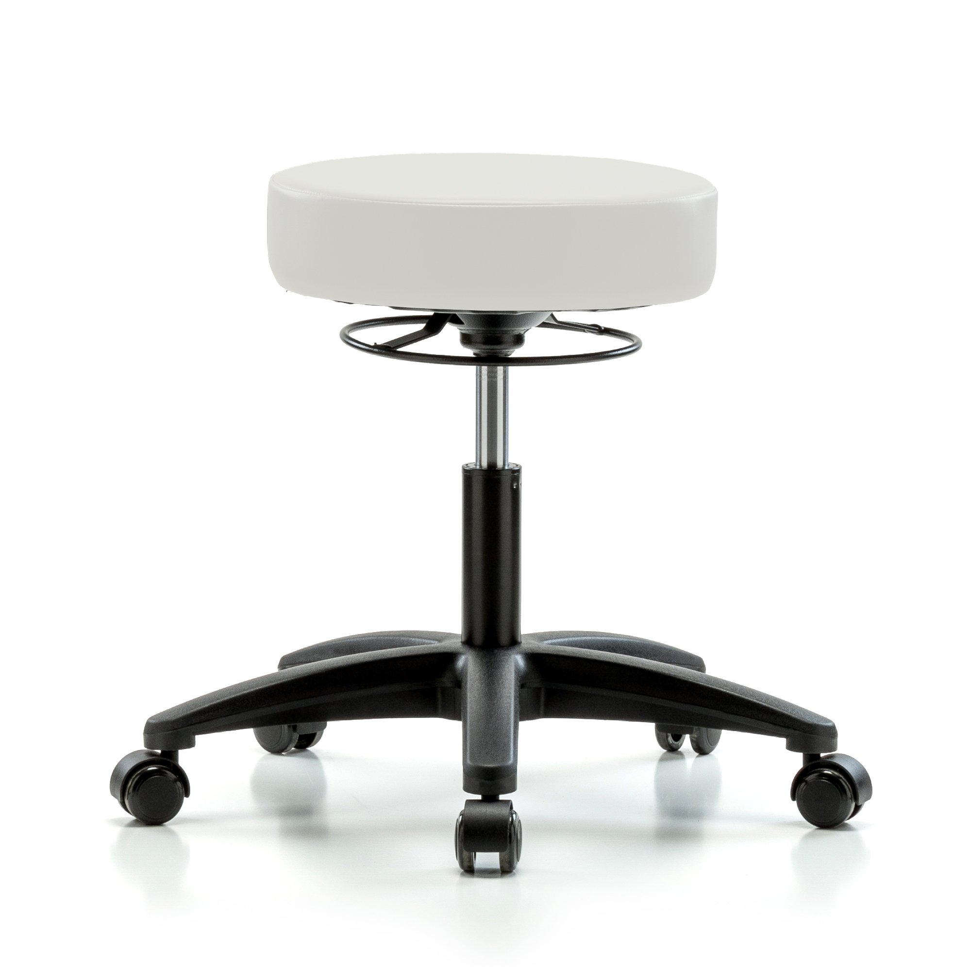 Perch Life Rolling Height Adjustable Stool For Lab Medical Office Spa Salon Kitchen Garage 20.5'' - 28'' (Hard Floor Casters/Adobe White Vinyl)