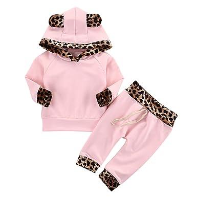 be2c3da6bcf8b Chic-Chic Ensemble Sport Pyjama Vêtements de Nuit Enfant Fille Sweat-Shirt  à Manches Longues Top + Pantalon Casual Impression Mignon pour Automne  Hiver  ...