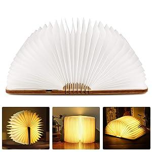 tronisky Lámpara de Libro Plegable, LED Luces de Madera USB Recargable Lámpara de Mesa Decorativa Lámpara de Noche Creativa Luces de Forma Libro Luz Nocturna, Blanco Cálido