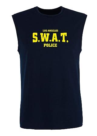 T-Shirtshock_ Singlete para los Hombre Azul Navy T0325 SWAT Police ...