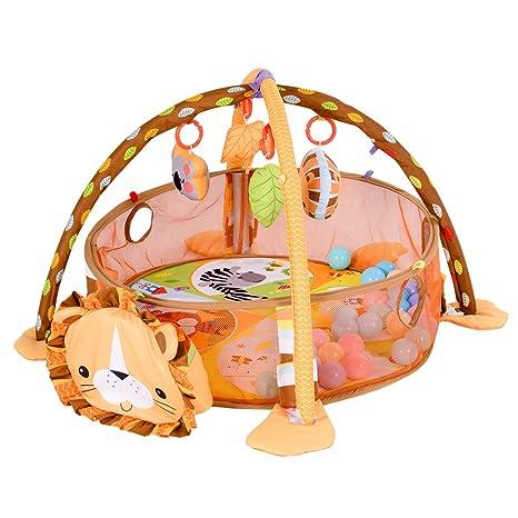 Colchoneta 3 en 1 para bebé, diseño de león con juguetes y 30 pelotas
