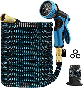 Cootway Garden Hose 25 ft Expandable Water Hose, Flexible Garden Pipe with 9 Function Nozzle, 3/4