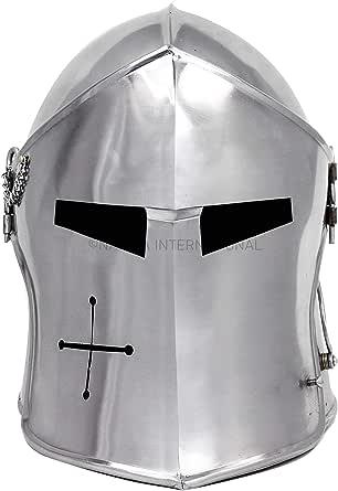 Nagina International Medieval Barbuta Visored Brushed Steel Knights Templar Crusaders Armour Helmet | Halloween Costume Props