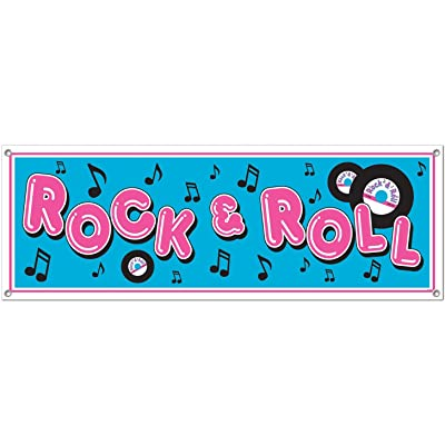 Rock & Roll Sign Banner Party Accessory (1 count) (1/Pkg): Childrens Party Banners: Kitchen & Dining