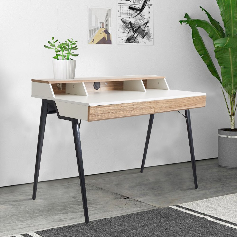 Dporticus 47'' Computer Writing Desk with Drawers Wood Table Workstation for Home Office, Metal Leg, Oak and White by Dporticus
