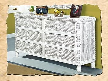 Stix \'N Things Santa Cruz 6 Drawer Wicker Dresser White