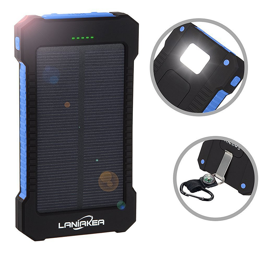 LANIAKEA Solar Charger 10000mAh, Waterproof Solar Power Bank Dual USB Solar Battery Phone Charger with Carabiner LED Lights for iPhone iPod Samsung HTC Nexus, Tablet and Android Phones(Blue)