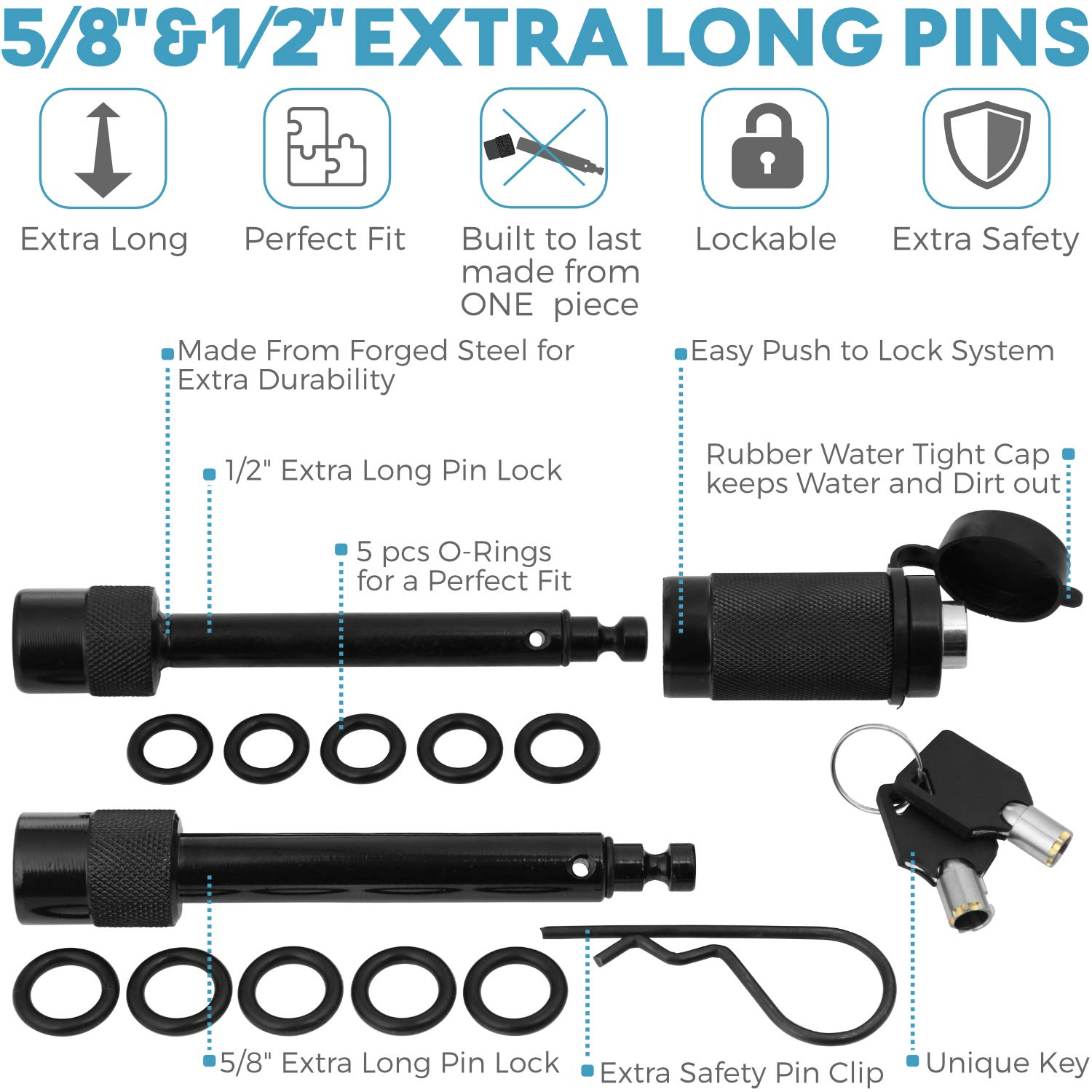 """5//8 and 1//2 Extra Long Black Pins with One Locking System Motormic Trailer Hitch Lock Pin Set 2/"""" and 2.5 inch Tow receivers 1.25/"""" 10 Anti Rattle O-Rings 1 Safety Clip Class I,II,III,IV,V"""