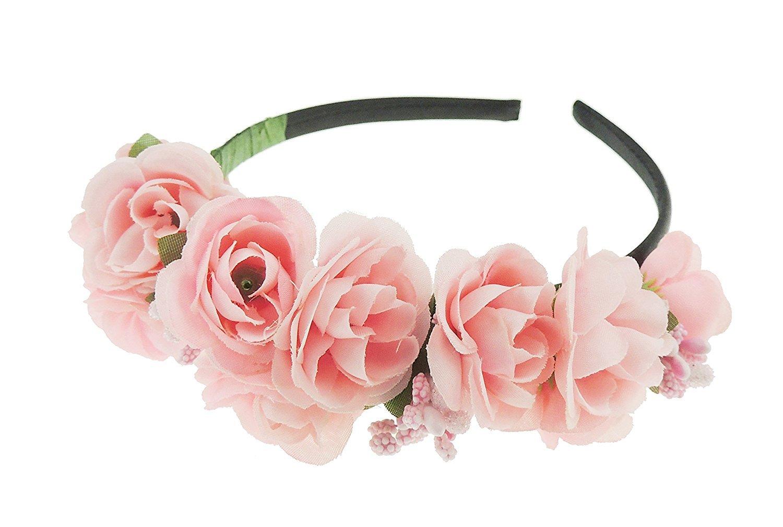 Mädchen Blumenmuster Chiffon Braut Brautjungfern Blume Mädchen Haarreifen Haarreif Pink Glamour Girlz
