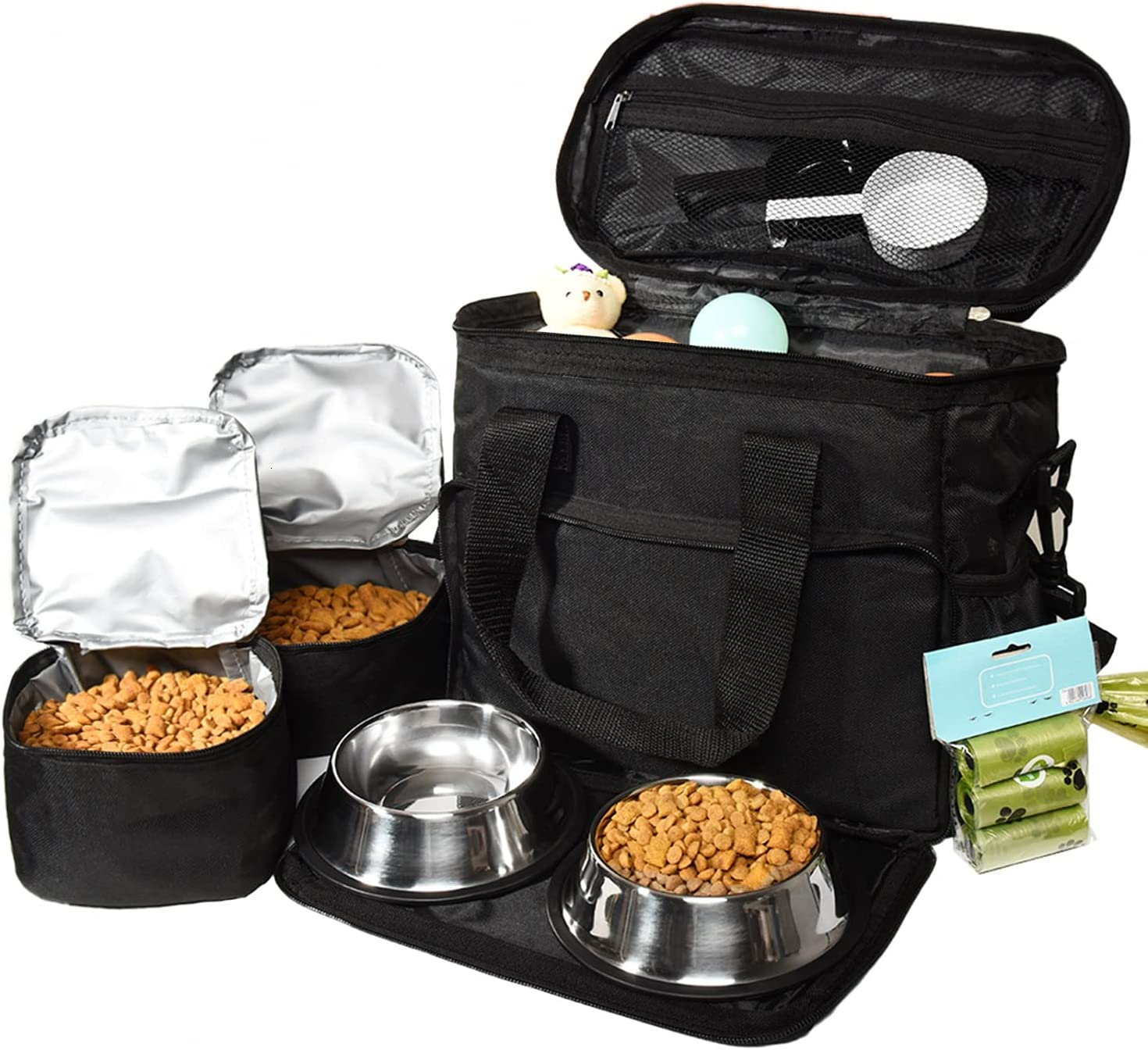 Vumdua Dog Travel Bag - Pet Travel Bag Organizer for Accessories, Includes 2 Dog Bowls, 2 Travel Dog Food Container and 3 Dog Poop Bags, Perfect Weekend Pet Travel Set for Dog Cat