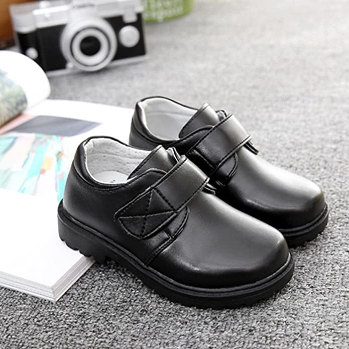 Zhhlinyuan Kids Classic Black PU Leather Shoes Jungs Comfortable Single Shoes Hot 2201 DhJfEg7uxd