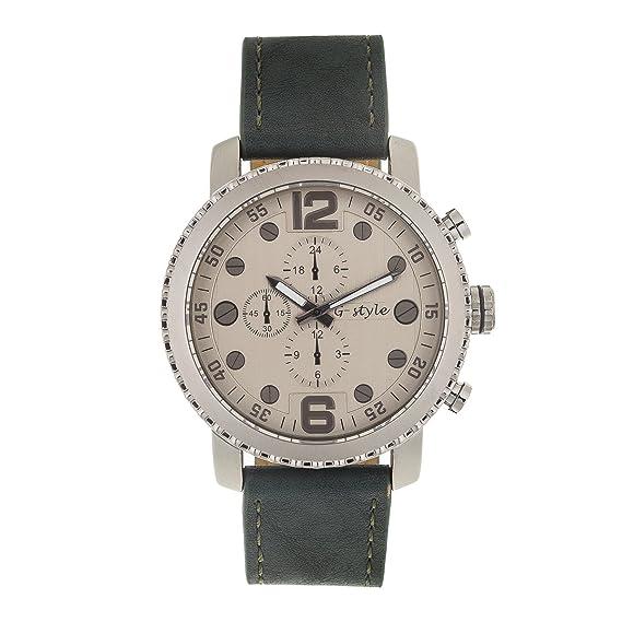 Reloj de Hombre de Moda G-Style Correa de Cuero Relojes Pulsera Regalo Perfecto (GSGC04): Amazon.es: Relojes