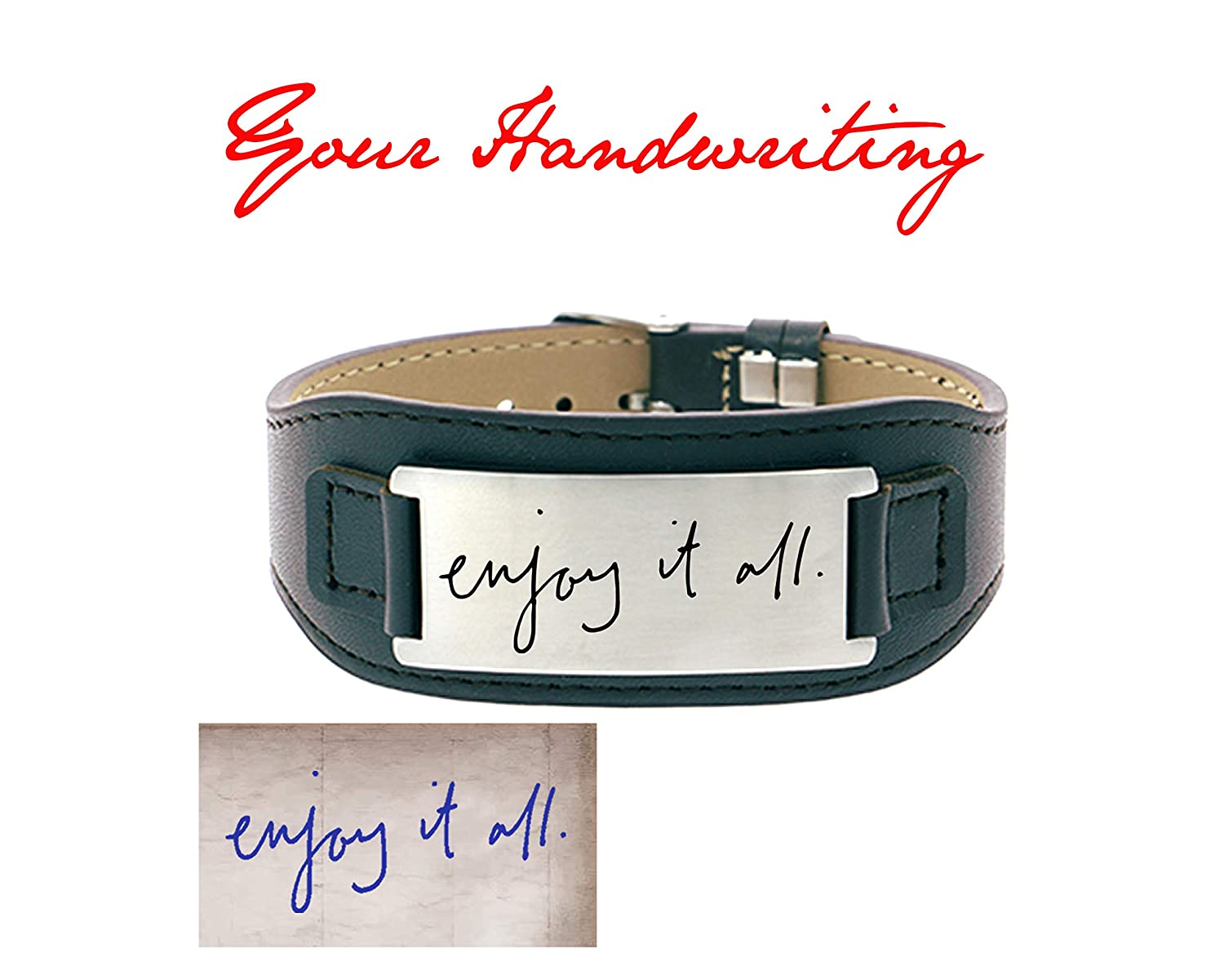 Kedar Custom Actual Handwriting Engraved Bracelet Signature Bracelet Personalized Real Handwritten Laser Engraved Leather Bracelet