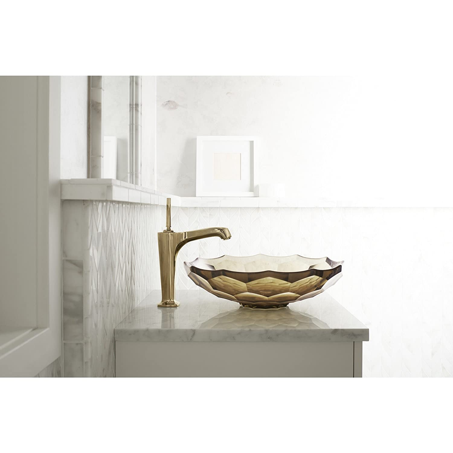 KOHLER K-2373-TG7 Briolette Vessel Faceted Glass Bathroom Sink, Translucent Sandalwood Glass