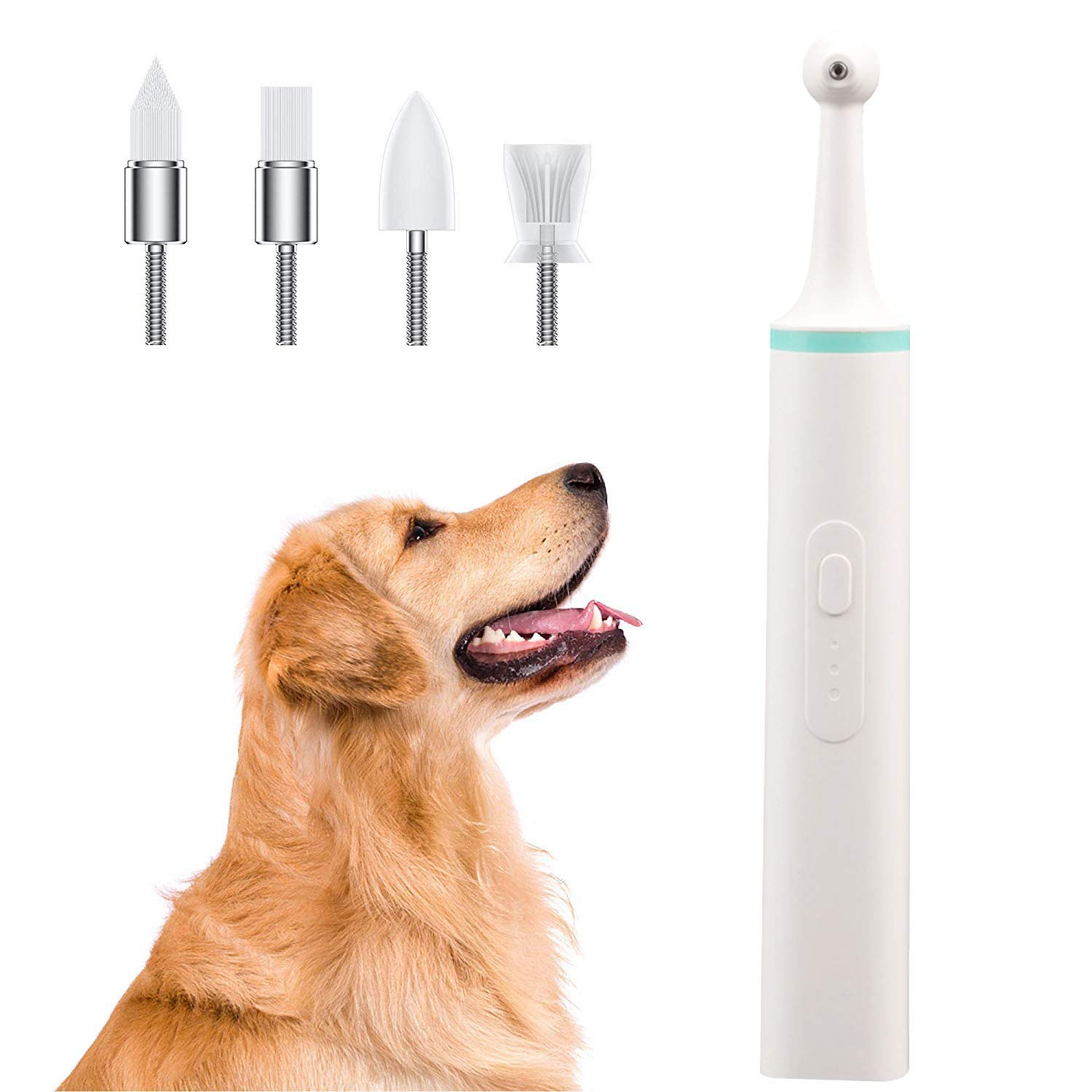 LXHSY Pet Electric Toothbrush - Dog Tartar Remover Tooth Polisher Pet Teeth Clean Whitening Tool with 4 Brush Heads and Humanized Non-Slip Handle Design by LXHSY