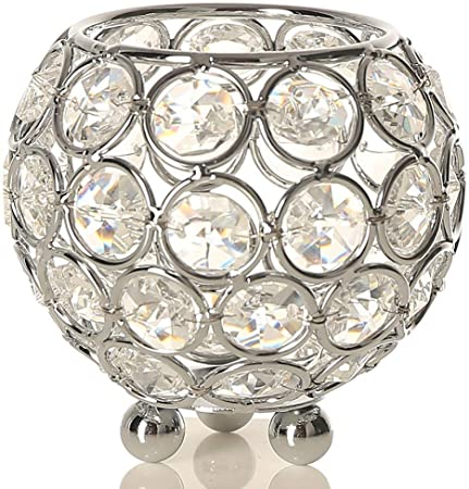 Vincigant Tea Light Candle Holder Silver Crystal Bowl Candle Holders Centerpieces For Wedding Table Decoration Home Accessories Christmas Decor 8cm Diameter Amazon Co Uk Kitchen Home