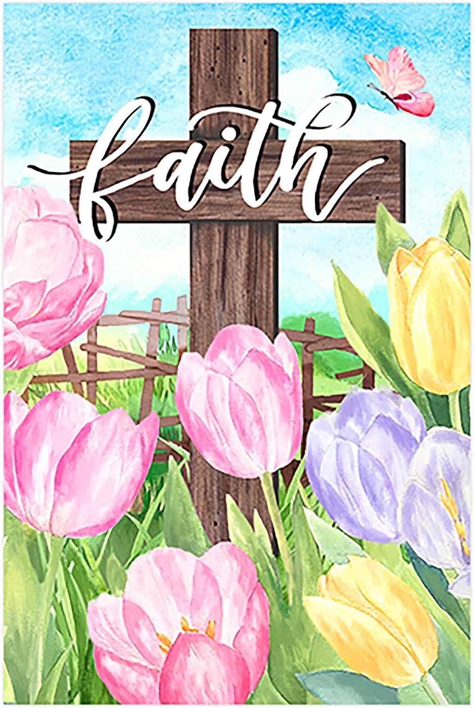 Morigins Easter Cross Garden Flag Decorative Spring Flower Religious Flag He is Risen 12.5 x 18 Inch