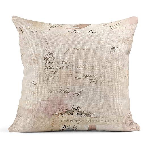 Kinhevao Cojín Vintage Fragmentos de Letras y Texto Visible ...