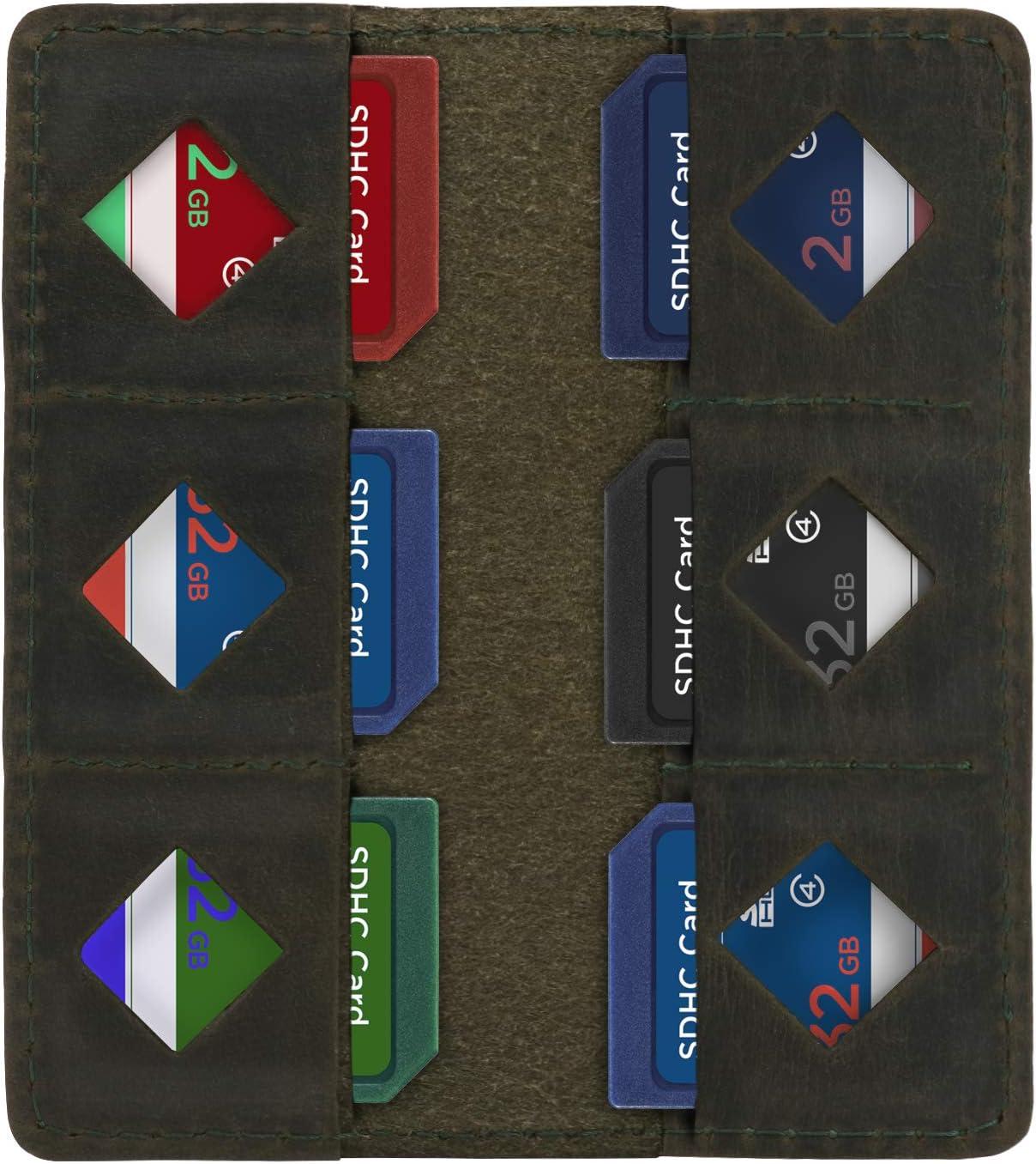 colore MegaGear Verde Porta schede SD in pelle